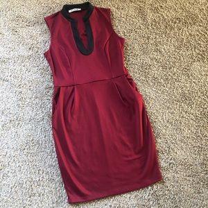 Mystic high neck pullover dress, burgundy, medium